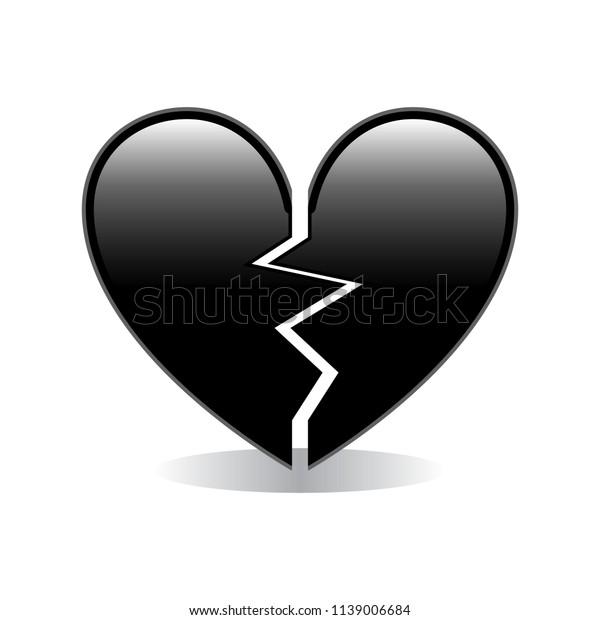 Broken Black Heart Emoji Vector Stock Vector Royalty Free 1139006684