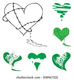 Broken Bleeding Heart icon collection, hand drawn icons and illustrations for Valentines and Anti-Valentines - stock vector