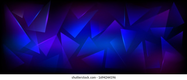 Broken Blue, Purple and Black Horizontal Background. Explosion, Destruction Cracked Surface Illustration. Abstract 3d Bg for Dj Party Posters, Banners or Advertisements.