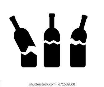 Broken bottle vector icon isolated on white background