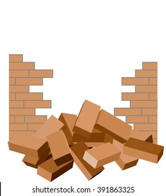 Broken brick wall with bricks in the foreground isolated on white / Construction demolish brick fence ruin background template / Vector illustration