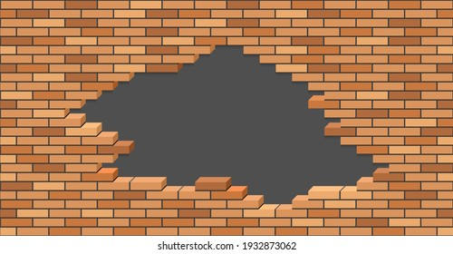 Broken brick wall with hole. 3D Isometric view. Brick stone wall of building or house destroyed. Flat vector illustration.