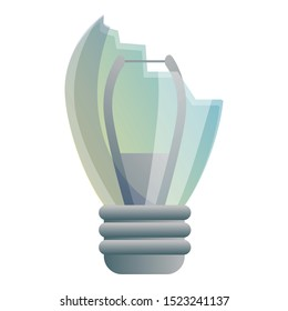 Broken bulb icon. Cartoon of broken bulb vector icon for web design isolated on white background