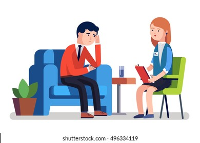 Broken businessman talking to psychologist. Psychotherapy counseling. Business man dealing with stress. Modern colorful flat style vector illustration isolated on white background.