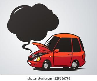 broken car cartoon illustration