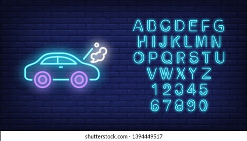 Broken car neon sign. Luminous signboard with road accident. Night bright advertisement. Vector illustration in neon style for car service, emergency, overheating, misfortune