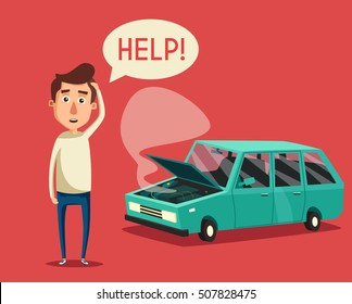 Broken car with open hood. Vector cartoon illustration. Unhappy man character