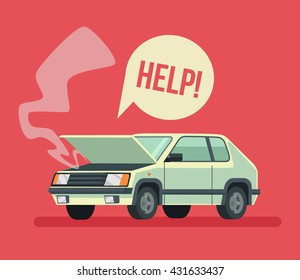 Broken car. Road accident. Car with open hood. Vector flat cartoon illustration