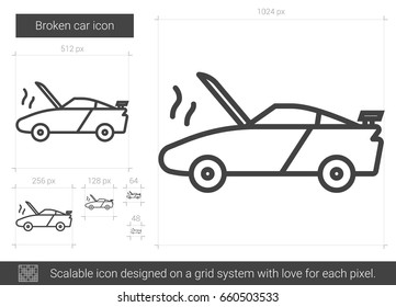 Broken car vector line icon isolated on white background. Broken car line icon for infographic, website or app. Scalable icon designed on a grid system.