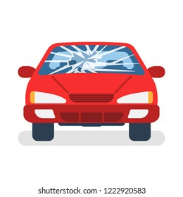 Broken car windshield. Accident of car. Damaged glass. Vector illustration flat design. Isolated on white background.
