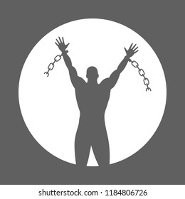 Broken chain graphic sign. Silhouette liberated man which broken chain. Freedom symbol. Vector illustration