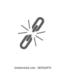 Broken chain  icon, unlink vector illustration
