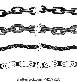 broken chains set. isolated vector graphics shapes