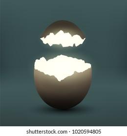 Broken chicken egg. Eggshell with light inside. Stock vector illustration.
