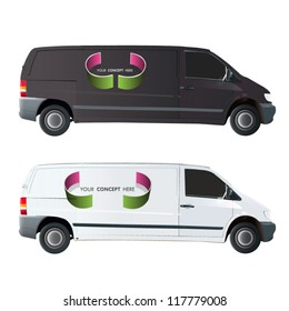 Broken circle printed in a van. Vector design.