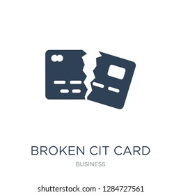 broken cit card icon vector on white background, broken cit card trendy filled icons from Business collection, broken cit card vector illustration