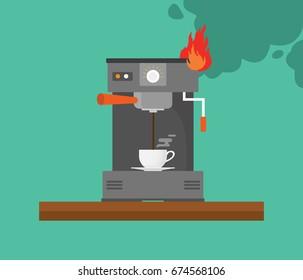 broken coffee machine with smoke and fire