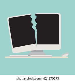 Broken computer with keyboard and mouse vector.Crashed computer flat cartoon style