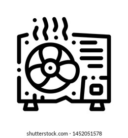 Broken Conditioner System Vector Thin Line Icon. Overheat Conditioner Technology Equipment, Superheat Outdoor Unit Ventilator Linear Pictogram. Air Conditioning Maintenance Contour Illustration