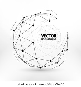 Broken connection network 3d polygon wireframe sphere technology vector illustration. Connect dots in sphere, illustration of network sphere design.