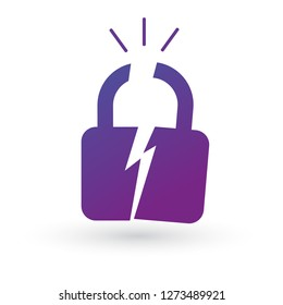 Broken or cracked lock icon. Vector illustration isolated on white background. Unlock icon.