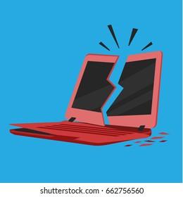broken crashed red laptop notebook