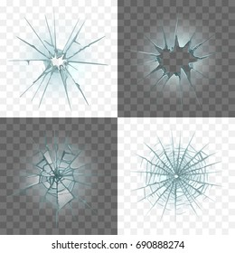 Broken and damaged glass detailed photo realistic vector set