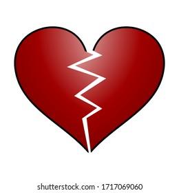 Broken Dark Red Heart Emoji Vector