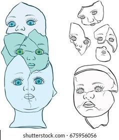 Broken Doll Face and Head Vector Line Art
