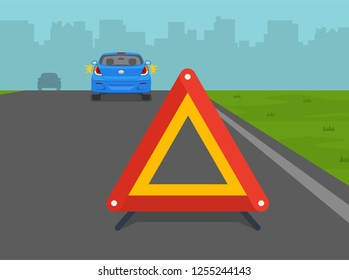 Broken down car on highway with warning sign. Back view. Flat vector illustration.
