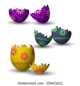 Broken easter eggs collection with decoration. Vector illustration.