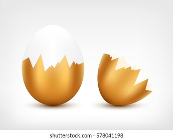 Broken egg with golden cracked shell vector illustration