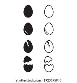 Broken egg icon set on white background