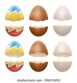 Broken eggs cracked open easter eggshell design realistic icons set isolated vector illustration