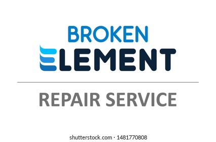 Broken Element - Vector illustration for phones, laptops Repair Service - Logo template of Tech Support.