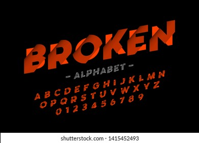 Broken font design, alphabet letters and numbers vector illustration