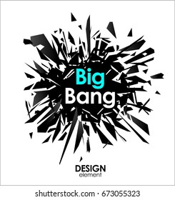 Broken glass or Big Bang explosion vector cool design elements