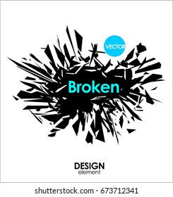 Broken glass or Big Bang vector cool design elements