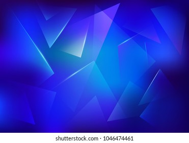 Broken Glass Blue Background. Frozen Ice Texture. Explosion, Destruction Cracked Surface Illustration. Abstract 3d Bg for Dj Party Posters, Banners or Advertisements.