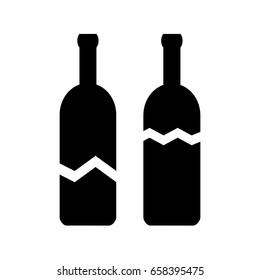 Broken glass bottle vector icon