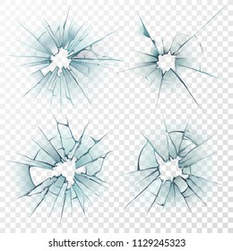Broken glass. Cracked texture on deforming mirror, smashed windows or damaged car windshield by bullet 3D sharp destruction crash smash ice surface. Realistic repair crack hole isolated vector set