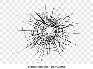 Broken glass, cracks, bullet marks on glass on transparent background. High resolution