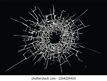 Broken glass, cracks, bullet marks on glass. Concept element. High resolution