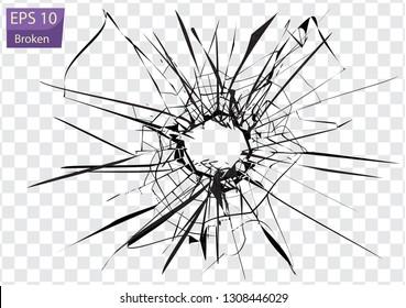 Broken glass, cracks, bullet marks on glass. High resolution