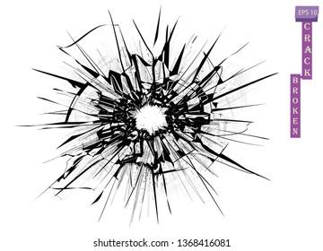Broken glass, cracks, bullet marks on glass. Transparent background. High resolution