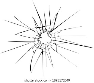 Broken glass, cracks, bullet marks on glass. High resolution. Texture glass with black hole. EPS 10