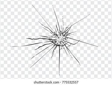 Broken glass, cracks, bullet marks on glass