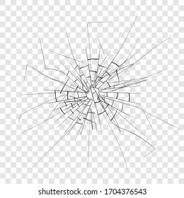 Broken glass, cracks on glass, high resolution. Vector illustration