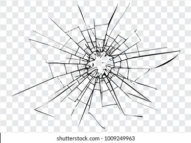 Broken glass, cracks  on glass, transparent background