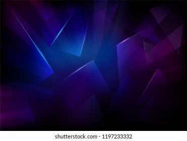 Broken Glass Dark Background. Frozen Sleek Texture. Explosion, Destruction Cracked Surface Illustration. Abstract 3d Bg for Dj Party Posters, Banners or Advertisements.